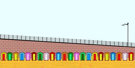 Empty Beach Huts Vector