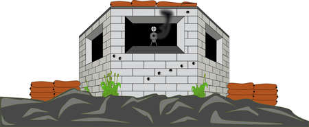 world war two: Military Pill Box Illustration