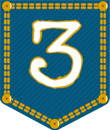 The number three embroidered onto a denim pocket Vector