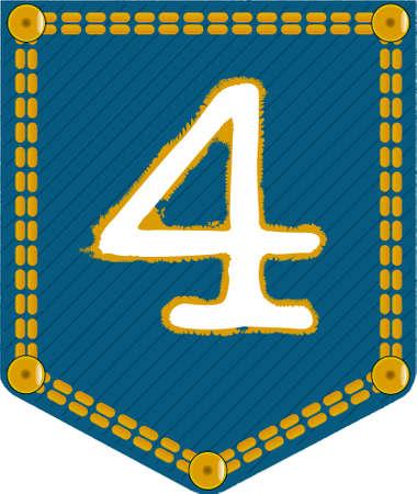 cijfer vier: De nummer vier geborduurd op een denim zak