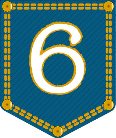 The number six embroidered onto a denim pocket Vector