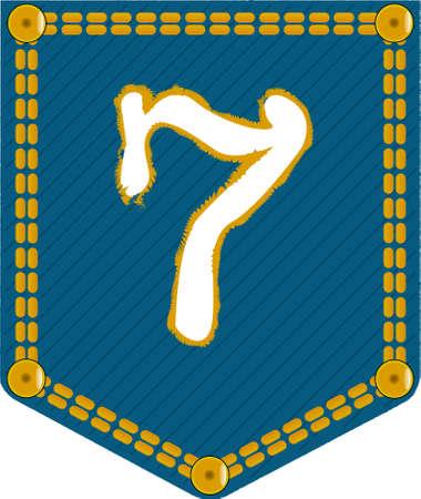 number seven: The number seven embroidered onto a denim pocket