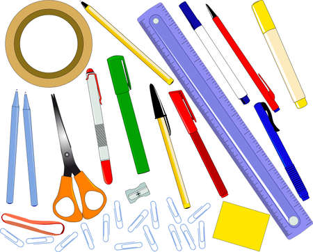 A selection of office supplies Stock Vector - 15641972