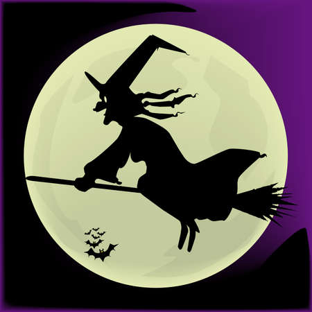broomstick: Witch Silhouette Illustration