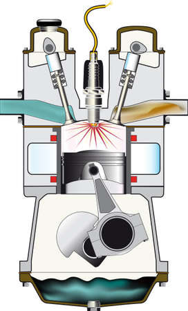 ignition: Ignition stroke of a petrol engine - 3rd stroke of the 4  Illustration