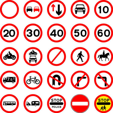 Road Sign Collection Stock Vector - 15856039