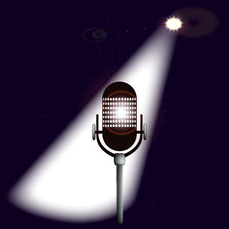 A single spotlit microphone on stage