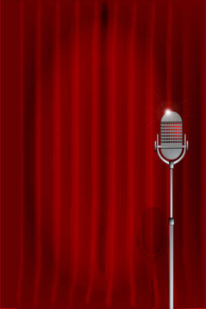 comedian: Stage curtain with a microphone  Illustration