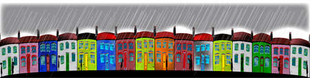 terraced: A row of cottages during a rain storm  Illustration