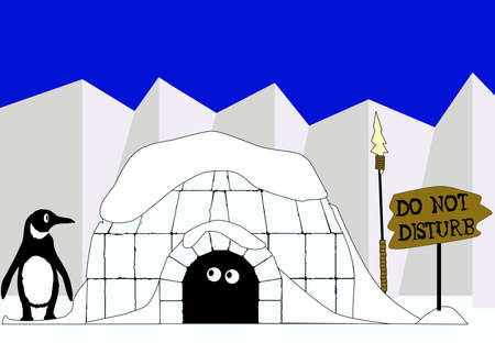 north pole sign: An igloo with a  do not disturb sign   Illustration