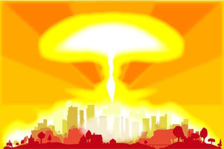 Explosión nuclear en el corazón de una gran ciudad Ilustración de vector