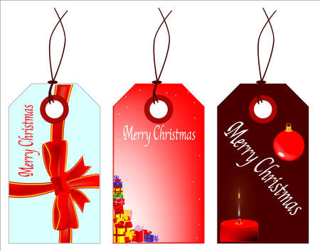 A collection of 3  Merry Christmas  tags  Vector