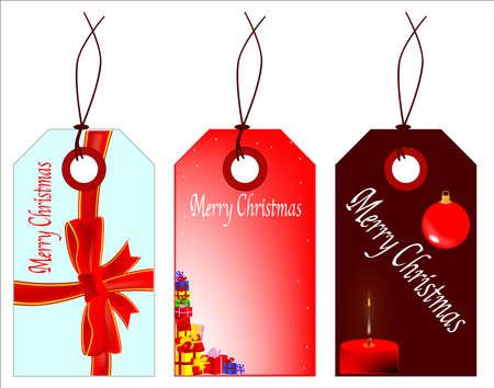 Een verzameling van 3 Vrolijke Kerstmis-tags