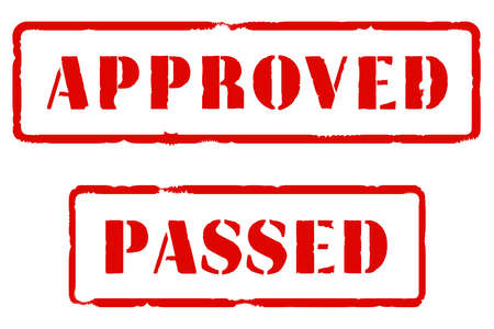 passed stamp: A rubber stamp impression of APPROVED and PASSED