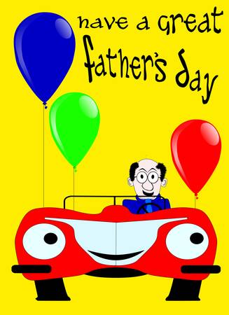 father  s day: A father s day message in original text, individually editable letters, a sports car and balloons in the foreground
