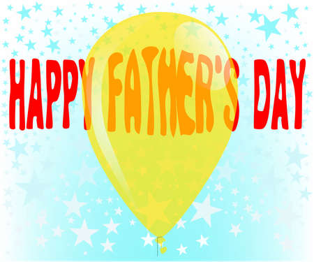 A party balloon with the message  happy father s day  all against a backdrop of stars  Vector