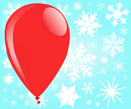 A red balloon floating through several snowflakes  Stock Vector - 15973985