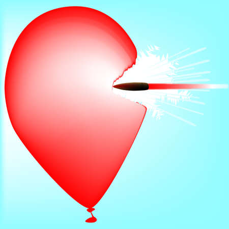 piercing: A high speed rifle bullet piercing a red ballon