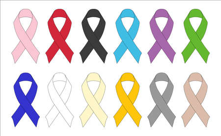 cancer ribbons: A selection of Awareness Ribbons  Illustration