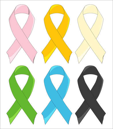 awareness ribbons: Six Awareness Ribbons Illustration