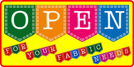 Fabric Store Open Sign Vector