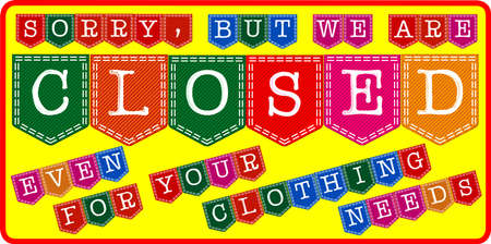 Clothing Store Closed Sign Vector