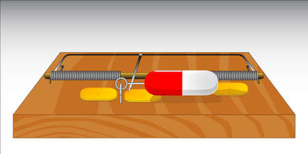 A mouse trap baited with drugs to indicate their addictive nature Stock Vector - 16056438