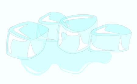 cubos de hielo: Cuatro derritiendo cubitos de hielo Vectores