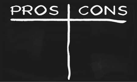 cons: Blackboard with the words pros and cons written across it. Illustration