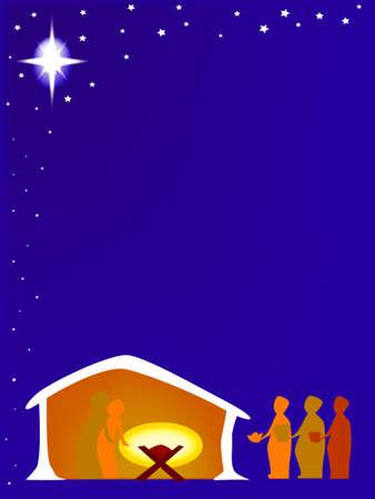 Een kerststal Stock Illustratie