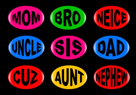 A collection of family  3D buttons with various text instructions  Easy color change and resize  Stock Vector - 16134948