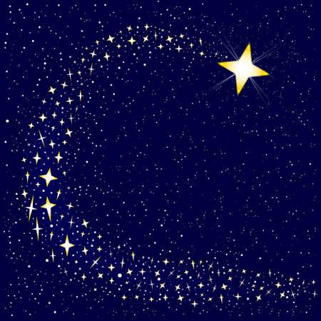 Een vallende ster omringd door een aantal sterrenhopen. Stock Illustratie