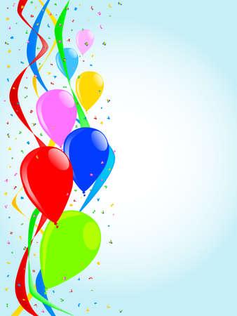 Een verzameling van ballons stijgen tegen een achtergrond van confetti en linten