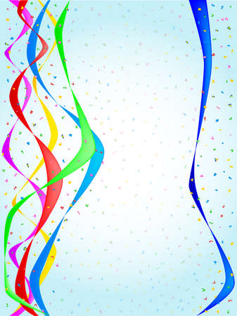 Multi coloured confetti and streamers, a party image  Vector
