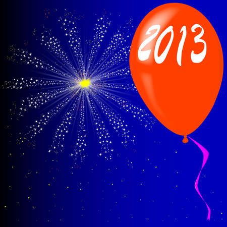 A new year celebration balloon with fireworks Stock Vector - 16246225