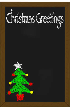 A christmas greetings written on a menu chalkboard Vector