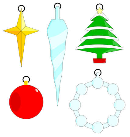 A collection of five Christmas Tree ornaments isolated on a white background Stock Vector - 16246229