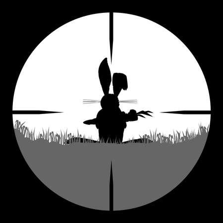 Een konijn kauwen op een wortel gezien door een telescopisch zicht