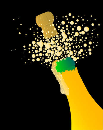 Champagne bottle being opened with froth and bubbles Stock Vector - 16351989