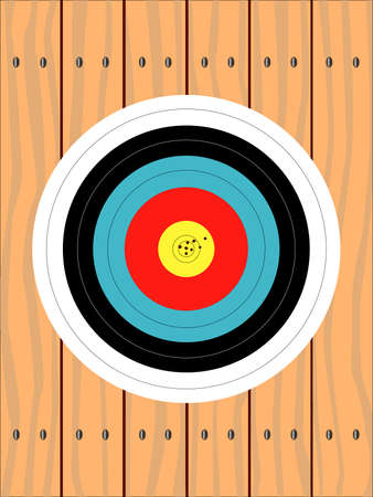 softwood: A target pinned to a wooden fence complete with high scoring arrow marks