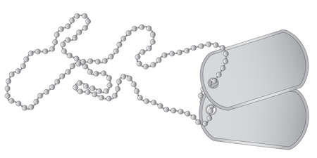 A set of military dog tags with chain  Illustration