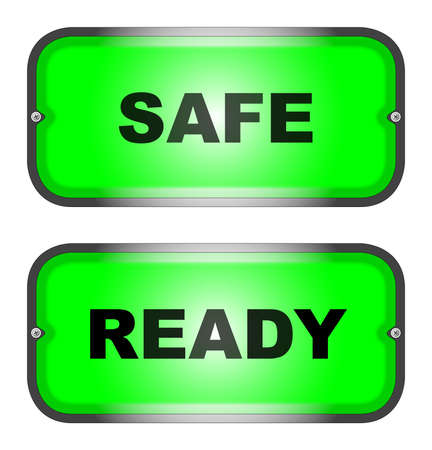 Two warning lights, one  SAFE  and one  READY Stock Vector - 16351996