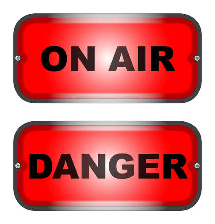 Two warning lights, one  ON AIR  and one  DANGER Stock Vector - 16351997