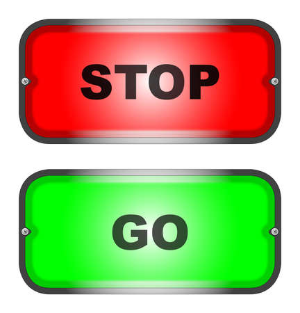 A pair of information signs,  stop  and  go   Stock Vector - 16352001