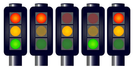 light emitting diode: A set of traffic lights including  one with all lights on. No meshes.