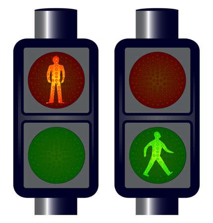 Walking man traffic lightys No meshes. Stock Vector - 16351998