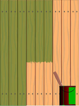 creosote: A fence made of softwood planks showing the wood grain and being stained, the paint tin stands by the fence. Illustration