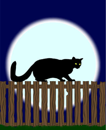 softwood: A large full moon with a cat sihouetted on a fence