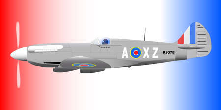 usaf: A Supermarine World War II Spitfire Mark XIV  fighter plane out on patrol against a patriotic red white and blue background