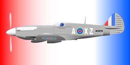 avion de chasse: Un Supermarine la Seconde Guerre mondiale Spitfire Mark XIV avion de chasse en patrouille dans un contexte patriotique rouge blanc et bleu Illustration